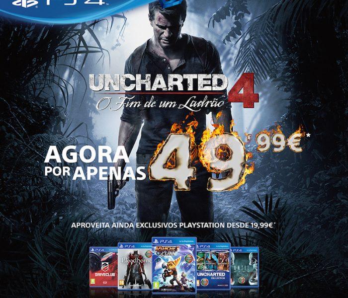 Uncharted 4 mais barato nas lojas!