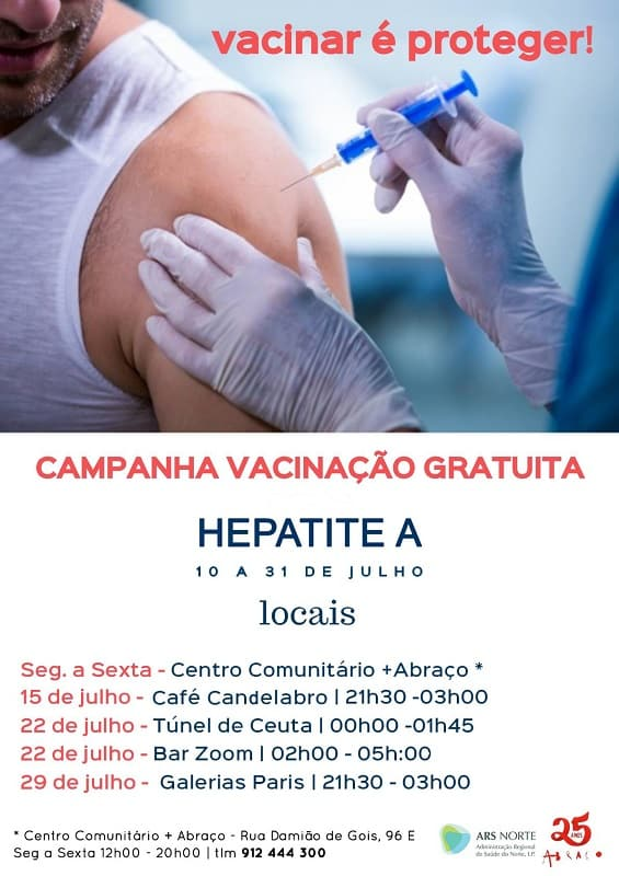 Vacinação gratuita contra a Hepatite A